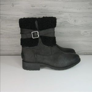 UGG Blayre III Waterproof Leather Wool Black Boots
